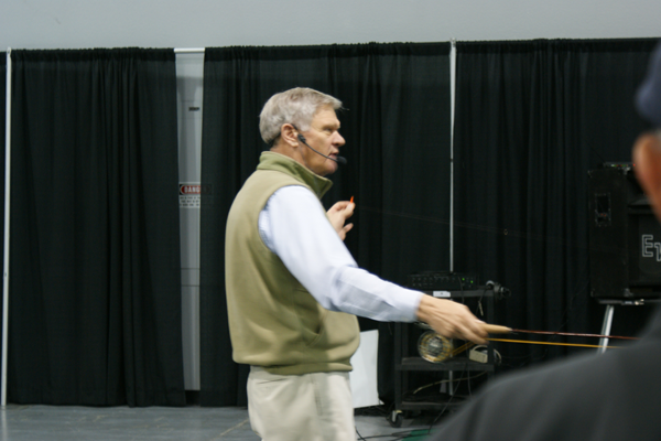Gary Borger demonstrating the bow and arrow cast