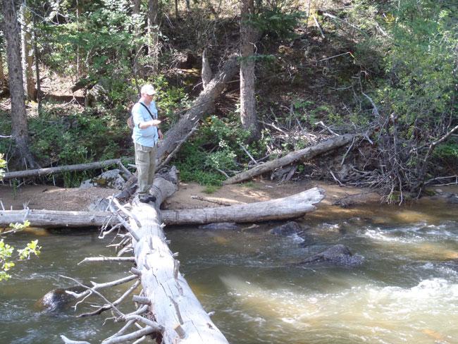 Karel Tenkara fishing on Boulder Creek