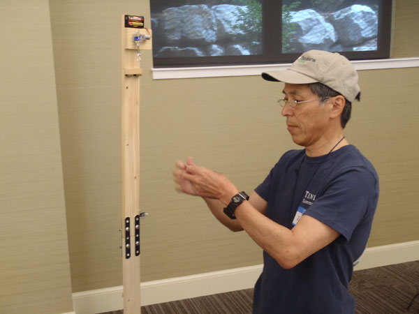 Eiji Yamakawa demonstrating his furled line technique at the 2012 Tenkara Summit