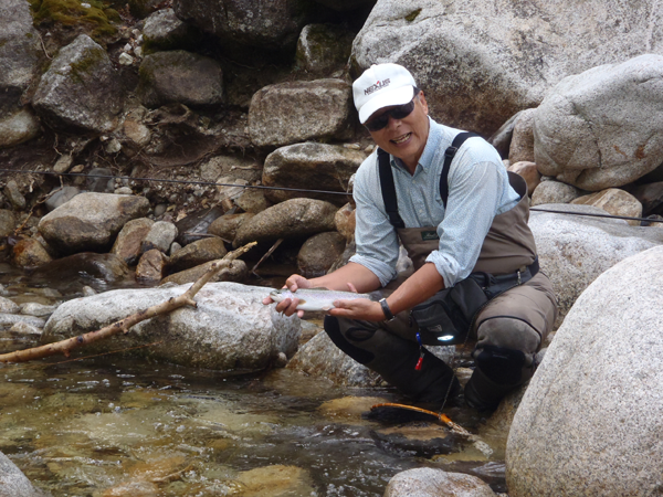 Dr. Ishigaki with a Nice Rainbow Trout