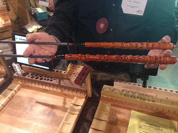 Dave & I comparing our bamboo handle Tenkara no Oni rods