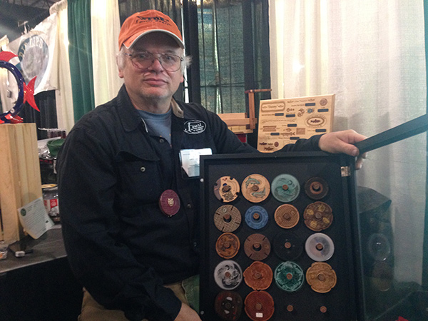 Dave Burchett with some of his handmade wooden tenkara line spools